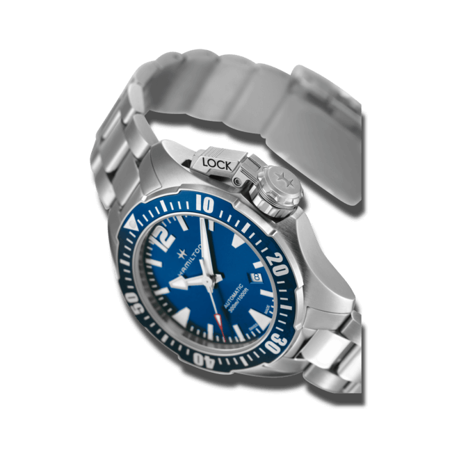 Herrenuhr Hamilton Khaki Frogman Automatik 42mm mit blauem Zifferblatt und Edelstahlarmband bei Brogle