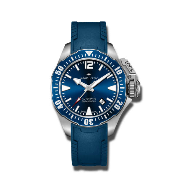 Herrenuhr Hamilton Khaki Frogman Automatik 42mm mit blauem Zifferblatt und Kautschukarmband bei Brogle