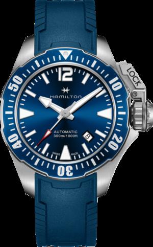 Herrenuhr Hamilton Khaki Frogman Automatik 42mm mit blauem Zifferblatt und Kautschukarmband