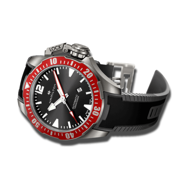 Herrenuhr Hamilton Khaki Frogman Titanium 46mm mit schwarzem Zifferblatt und Kautschukarmband bei Brogle