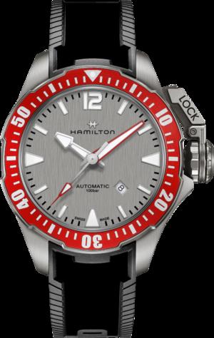 Herrenuhr Hamilton Khaki Frogman Titanium 46mm mit grauem Zifferblatt und Kautschukarmband