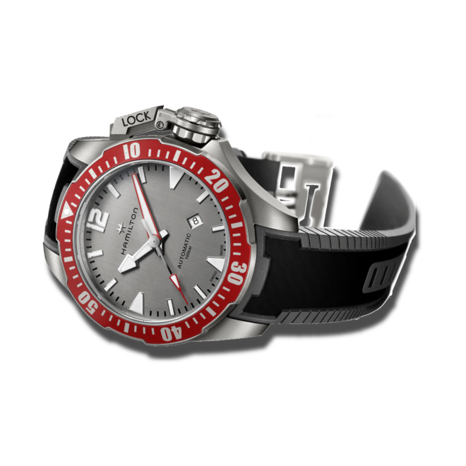 Herrenuhr Hamilton Khaki Frogman Titanium 46mm mit grauem Zifferblatt und Kautschukarmband bei Brogle