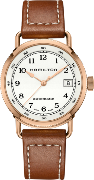 Damenuhr Hamilton Khaki Navy Pioneer Automatik 36mm mit weißem Zifferblatt und Kalbsleder-Armband