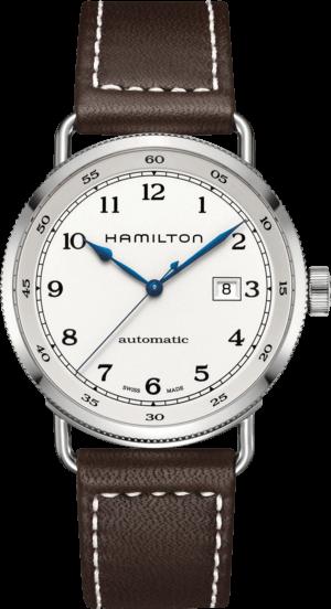 Herrenuhr Hamilton Khaki Navy Pioneer Automatik 43mm mit weißem Zifferblatt und Kalbsleder-Armband