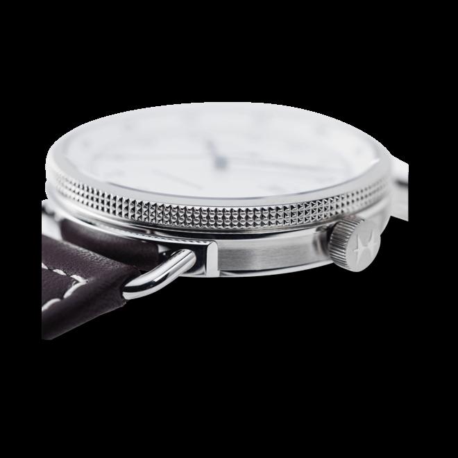 Herrenuhr Hamilton Khaki Navy Pioneer Automatik 43mm mit weißem Zifferblatt und Kalbsleder-Armband bei Brogle