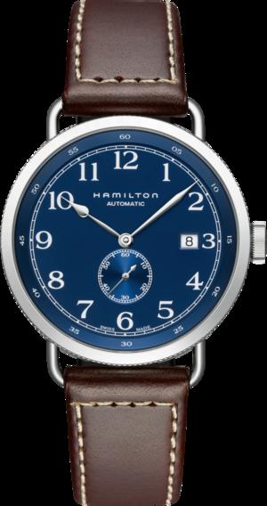 Herrenuhr Hamilton Khaki Navy Pioneer Small Second 40mm mit blauem Zifferblatt und Kalbsleder-Armband