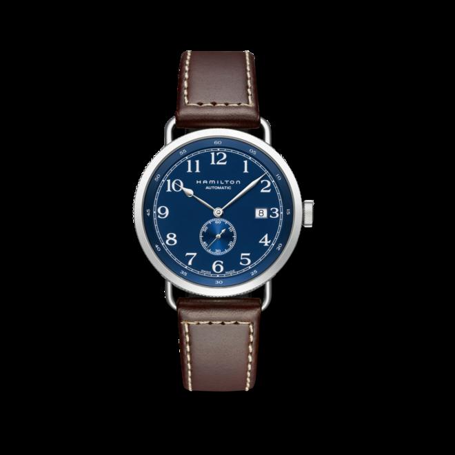 Herrenuhr Hamilton Khaki Navy Pioneer Small Second 40mm mit blauem Zifferblatt und Kalbsleder-Armband bei Brogle