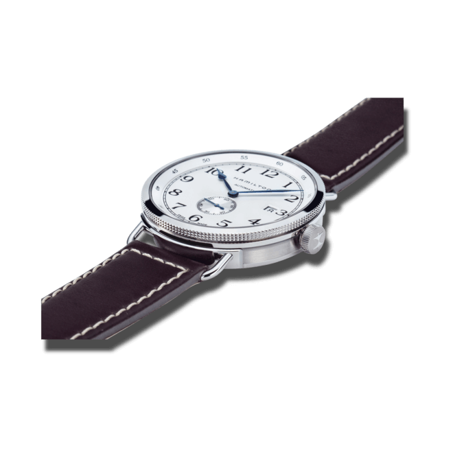 Herrenuhr Hamilton Khaki Navy Pioneer Small Second 40mm mit weißem Zifferblatt und Kalbsleder-Armband bei Brogle