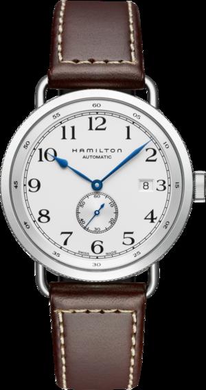 Herrenuhr Hamilton Khaki Navy Pioneer Small Second 40mm mit weißem Zifferblatt und Kalbsleder-Armband