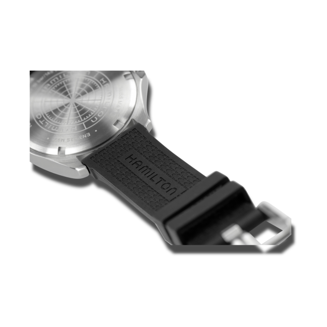 Herrenuhr Hamilton Khaki Navy Scuba Automatik 40mm mit schwarzem Zifferblatt und Kautschukarmband bei Brogle