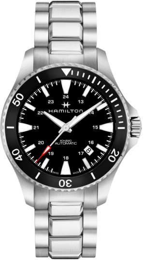 Herrenuhr Hamilton Khaki Navy Scuba Automatik 40mm mit schwarzem Zifferblatt und Edelstahlarmband