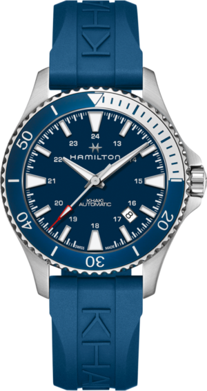 Herrenuhr Hamilton Khaki Navy Scuba Automatik 40mm mit blauem Zifferblatt und Kautschukarmband