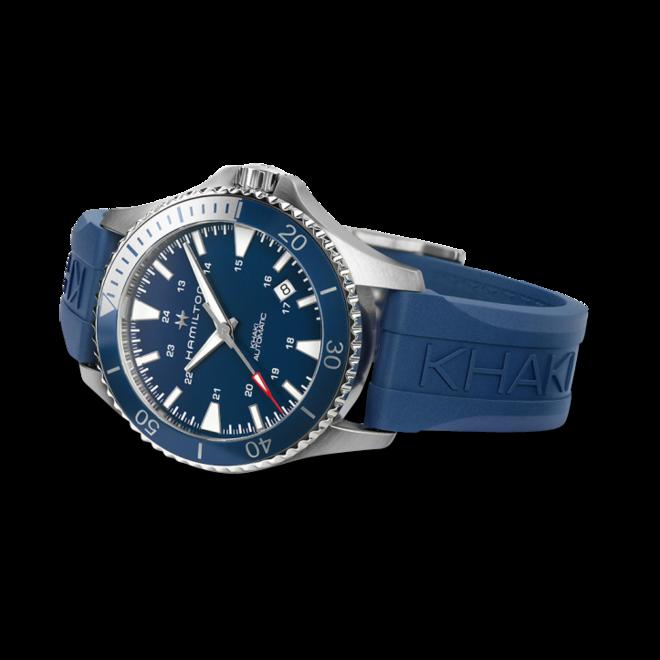 Herrenuhr Hamilton Khaki Navy Scuba Automatik 40mm mit blauem Zifferblatt und Kautschukarmband bei Brogle