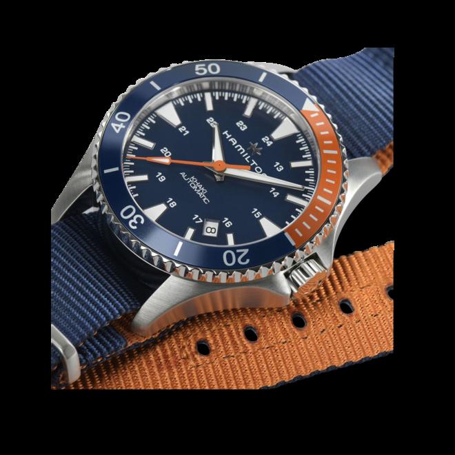 Herrenuhr Hamilton Khaki Navy Scuba Automatik 40mm mit blauem Zifferblatt und Textilarmband bei Brogle