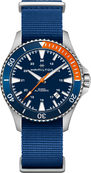 Herrenuhr Hamilton Khaki Navy Scuba Automatik 40mm mit blauem Zifferblatt und Textilarmband