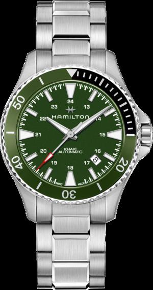 Herrenuhr Hamilton Khaki Navy Scuba Automatik 40mm mit grünem Zifferblatt und Edelstahlarmband