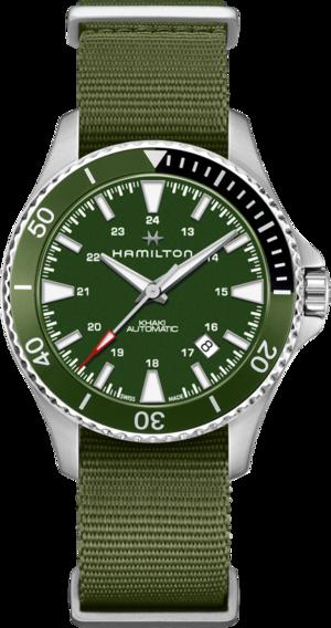 Herrenuhr Hamilton Khaki Navy Scuba Automatik 40mm mit grünem Zifferblatt und Textilarmband