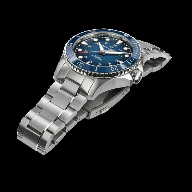 Herrenuhr Hamilton Khaki Navy Scuba Automatik 43mm mit blauem Zifferblatt und Edelstahlarmband bei Brogle