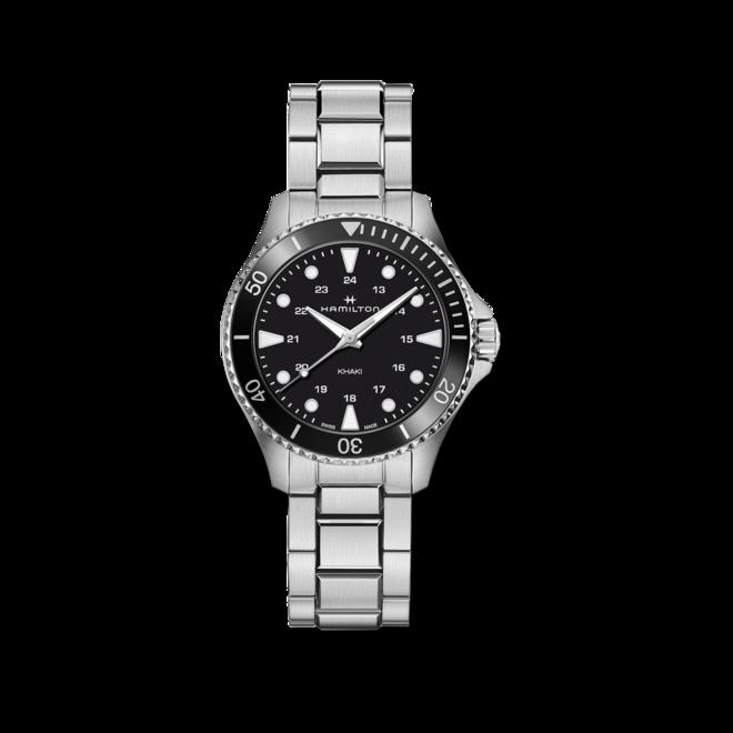 Armbanduhr Hamilton Khaki Navy Scuba Quartz 37mm mit schwarzem Zifferblatt und Edelstahlarmband bei Brogle