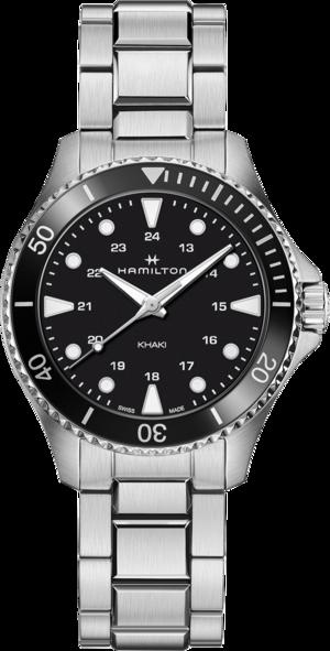 Armbanduhr Hamilton Khaki Navy Scuba Quartz 37mm mit schwarzem Zifferblatt und Edelstahlarmband