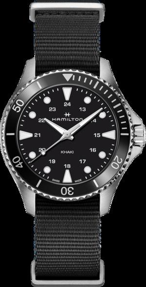 Armbanduhr Hamilton Khaki Navy Scuba Quartz 37mm mit schwarzem Zifferblatt und Textilarmband