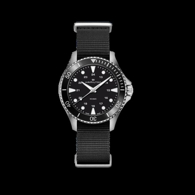 Armbanduhr Hamilton Khaki Navy Scuba Quartz 37mm mit schwarzem Zifferblatt und Textilarmband bei Brogle