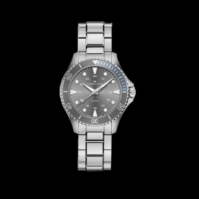 Armbanduhr Hamilton Khaki Navy Scuba Quartz 37mm mit grauem Zifferblatt und Edelstahlarmband bei Brogle