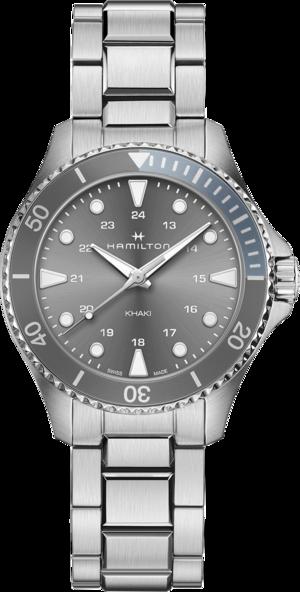 Armbanduhr Hamilton Khaki Navy Scuba Quartz 37mm mit grauem Zifferblatt und Edelstahlarmband