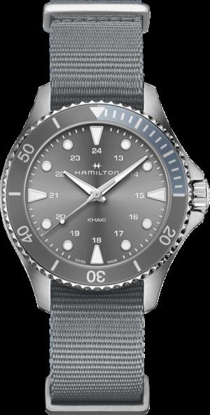 Armbanduhr Hamilton Khaki Navy Scuba Quartz 37mm mit grauem Zifferblatt und Textilarmband