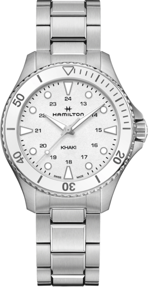 Armbanduhr Hamilton Khaki Navy Scuba Quartz 37mm mit weißem Zifferblatt und Edelstahlarmband