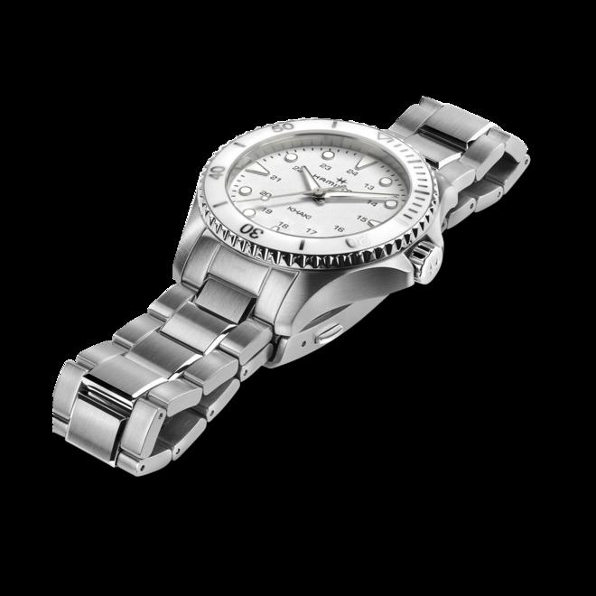 Armbanduhr Hamilton Khaki Navy Scuba Quartz 37mm mit weißem Zifferblatt und Edelstahlarmband bei Brogle