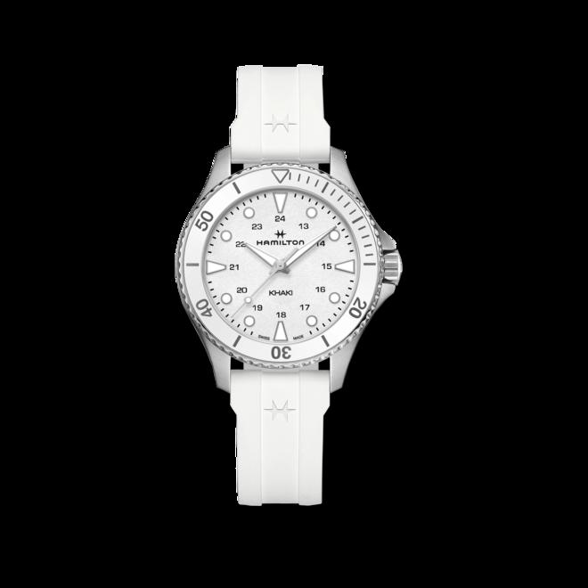 Armbanduhr Hamilton Khaki Navy Scuba Quartz 37mm mit weißem Zifferblatt und Kautschukarmband bei Brogle