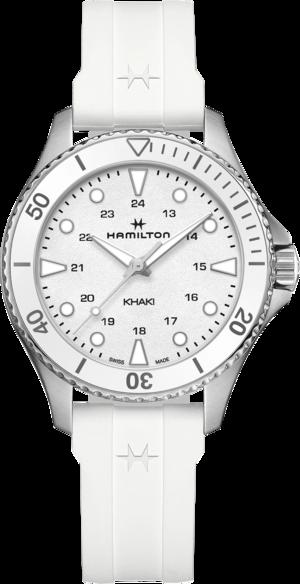 Armbanduhr Hamilton Khaki Navy Scuba Quartz 37mm mit weißem Zifferblatt und Kautschukarmband