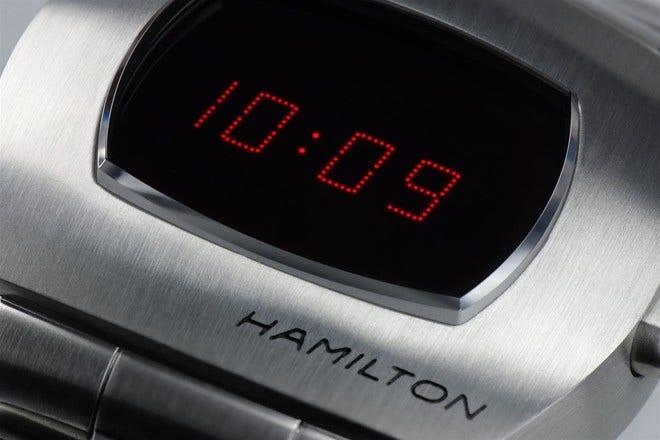 Herrenuhr Hamilton PSR Quarz 40,8 x 34,7 x 13,3mm mit schwarzem Zifferblatt und Edelstahlarmband bei Brogle