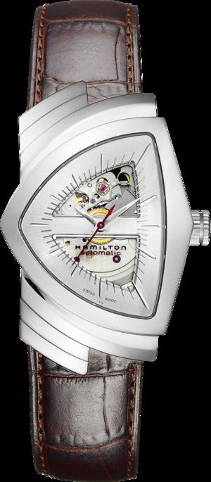 Herrenuhr Hamilton Ventura L Automatik mit silberfarbenem Zifferblatt und Armband aus Kalbsleder mit Krokodilprägung