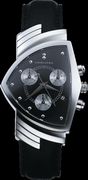 Herrenuhr Hamilton Ventura M Chronograph Quarz mit schwarzem Zifferblatt und Kalbsleder-Armband