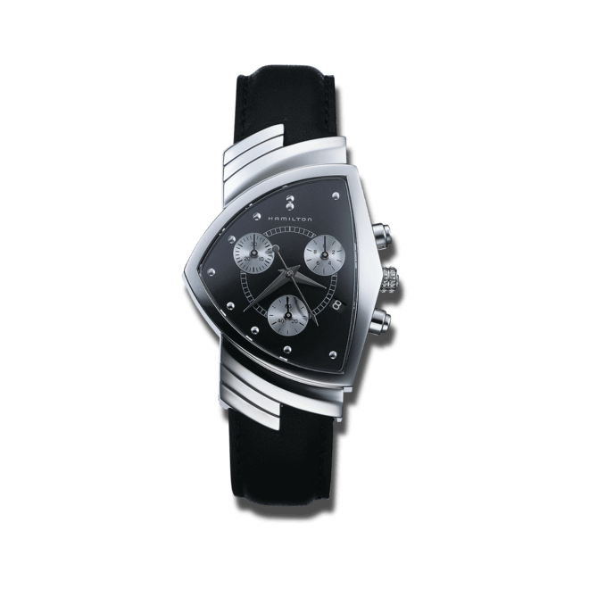 Herrenuhr Hamilton Ventura M Chronograph Quarz mit schwarzem Zifferblatt und Kalbsleder-Armband bei Brogle