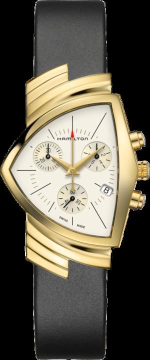 Herrenuhr Hamilton Ventura M Chronograph Quarz mit weißem Zifferblatt und Kalbsleder-Armband
