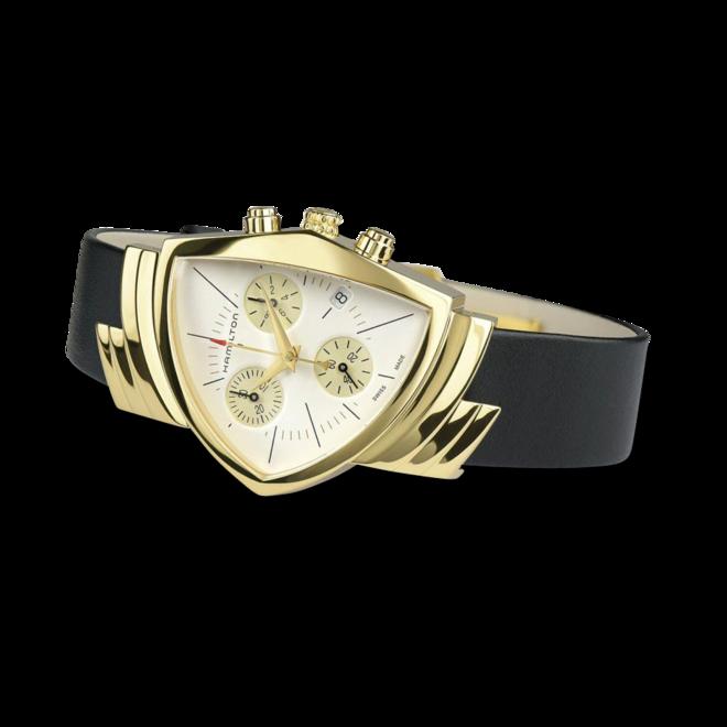 Herrenuhr Hamilton Ventura M Chronograph Quarz mit weißem Zifferblatt und Kalbsleder-Armband bei Brogle