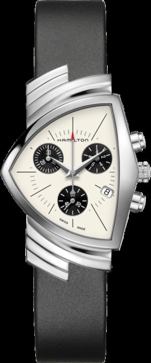 Herrenuhr Hamilton Ventura M Chronograph Quarz mit beigefarbenem Zifferblatt und Kalbsleder-Armband