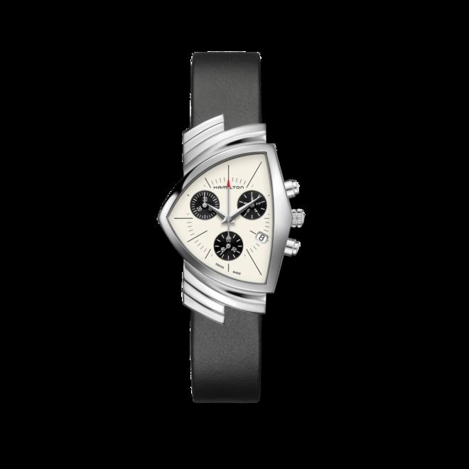Herrenuhr Hamilton Ventura M Chronograph Quarz mit beigefarbenem Zifferblatt und Kalbsleder-Armband bei Brogle