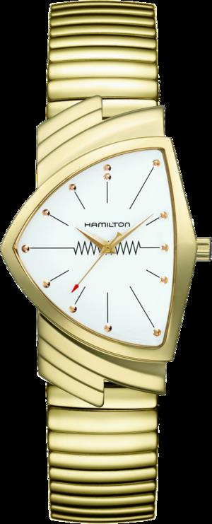 Armbanduhr Hamilton Ventura M Flex Quarz Gold mit weißem Zifferblatt und Edelstahlarmband