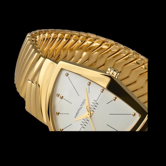 Armbanduhr Hamilton Ventura M Flex Quarz Gold mit weißem Zifferblatt und Edelstahlarmband bei Brogle