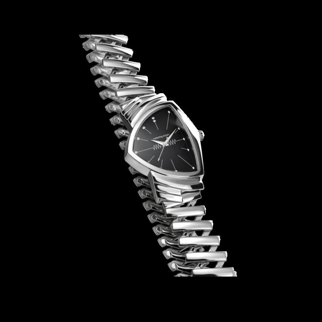 Armbanduhr Hamilton Ventura M Flex Quarz mit schwarzem Zifferblatt und Edelstahlarmband bei Brogle
