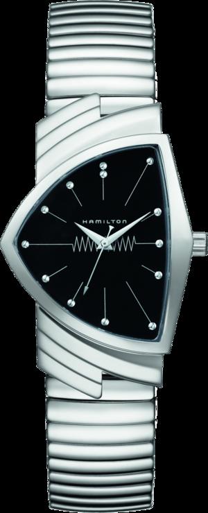 Armbanduhr Hamilton Ventura M Flex Quarz mit schwarzem Zifferblatt und Edelstahlarmband