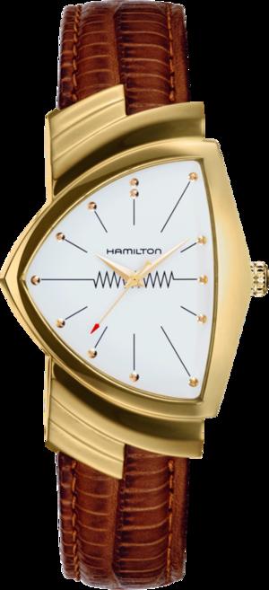 Armbanduhr Hamilton Ventura M Quarz Gold mit weißem Zifferblatt und Armband aus Kalbsleder mit Krokodilprägung