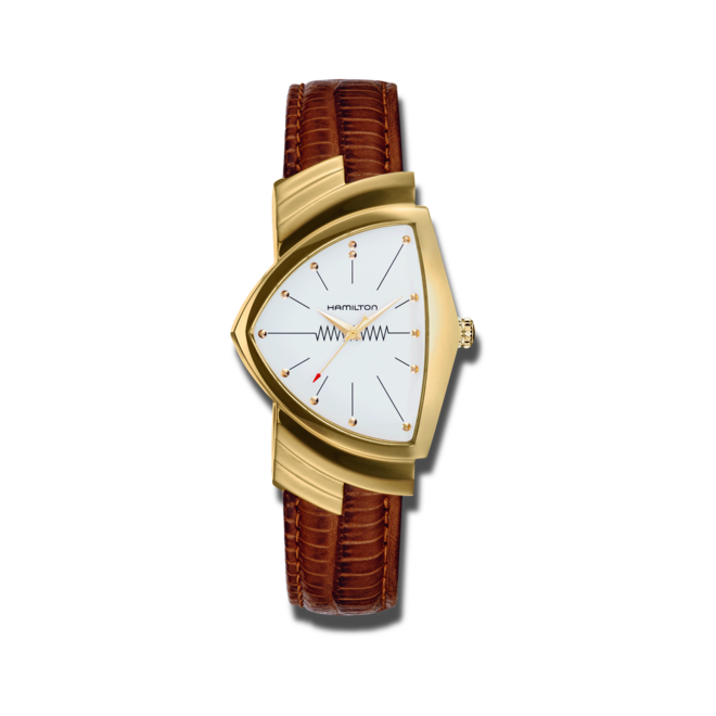 Armbanduhr Hamilton Ventura M Quarz Gold mit weißem Zifferblatt und Armband aus Kalbsleder mit Krokodilprägung bei Brogle