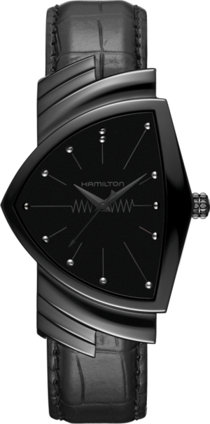 Armbanduhr Hamilton Ventura M Quarz mit schwarzem Zifferblatt und Kalbsleder-Armband