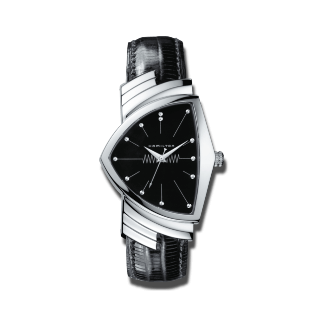 Armbanduhr Hamilton Ventura M Quarz mit schwarzem Zifferblatt und Kalbsleder-Armband bei Brogle