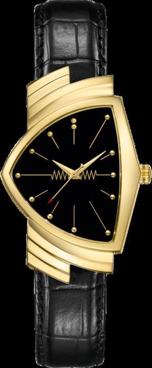 Damenuhr Hamilton Ventura Quarz 32,3 x 50,3mm mit schwarzem Zifferblatt und Kalbsleder-Armband
